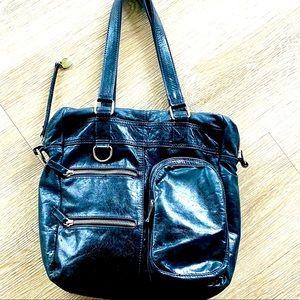 TWIN - SET BLACK  LEATHER BAG
